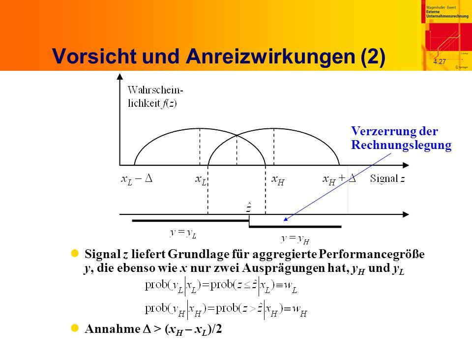 4.27 Vorsicht und Anreizwirkungen (2) Signal z liefert Grundlage für aggregierte Performancegröße y, die ebenso wie x nur zwei Ausprägungen hat, y H und y L Annahme  > (x H – x L )/2 Verzerrung der Rechnungslegung