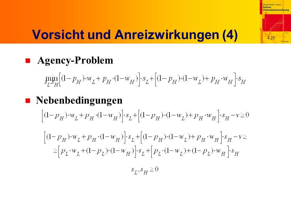 4.29 Vorsicht und Anreizwirkungen (4) n Agency-Problem n Nebenbedingungen