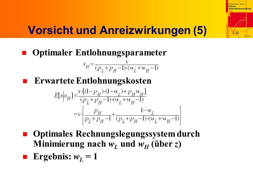 4.30 Vorsicht und Anreizwirkungen (5) n Optimaler Entlohnungsparameter n Erwartete Entlohnungskosten n Optimales Rechnungslegungssystem durch Minimierung nach w L und w H (über z) n Ergebnis: w L = 1