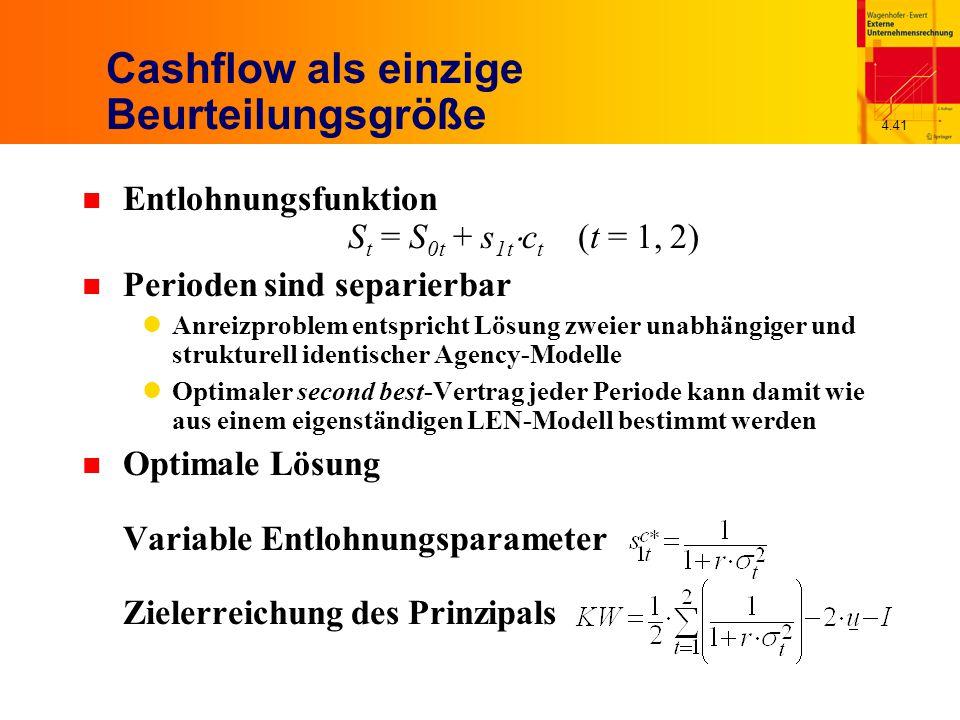 4.41 Cashflow als einzige Beurteilungsgröße n Entlohnungsfunktion S t = S 0t + s 1t  c t (t = 1, 2) n Perioden sind separierbar Anreizproblem entspricht Lösung zweier unabhängiger und strukturell identischer Agency-Modelle Optimaler second best-Vertrag jeder Periode kann damit wie aus einem eigenständigen LEN-Modell bestimmt werden n Optimale Lösung Variable Entlohnungsparameter Zielerreichung des Prinzipals