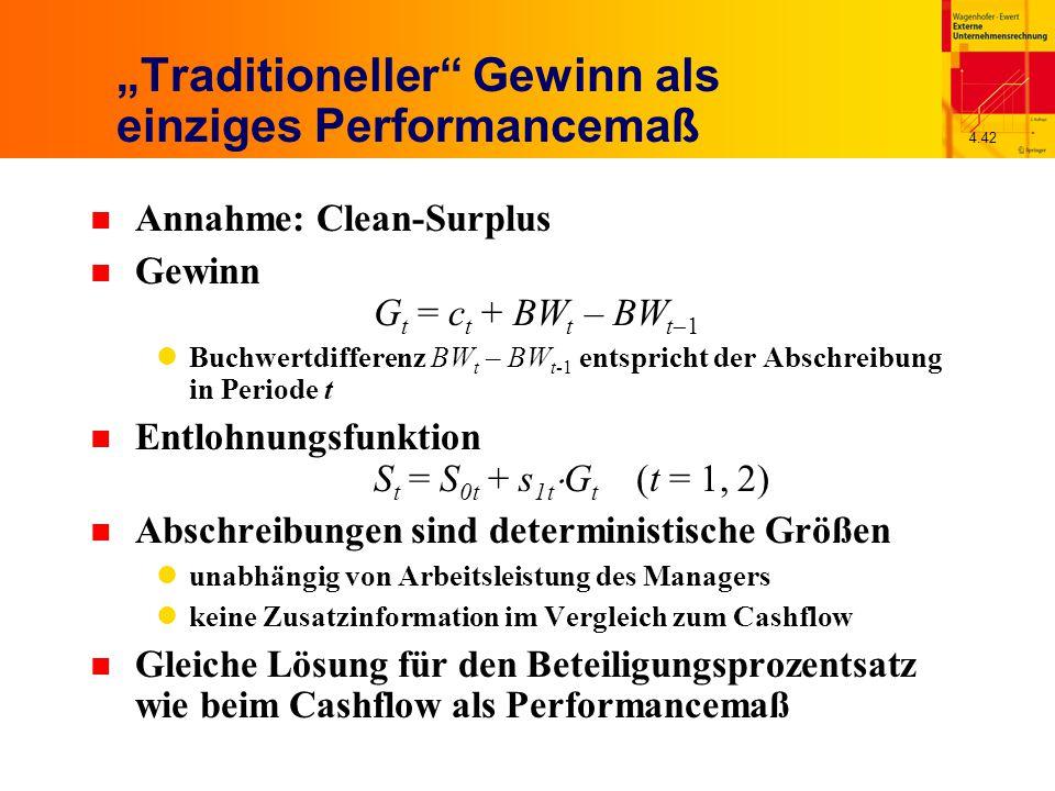 """4.42 """"Traditioneller Gewinn als einziges Performancemaß n Annahme: Clean-Surplus Gewinn G t = c t + BW t – BW t  1 Buchwertdifferenz BW t – BW t-1 entspricht der Abschreibung in Periode t n Entlohnungsfunktion S t = S 0t + s 1t  G t (t = 1, 2) n Abschreibungen sind deterministische Größen unabhängig von Arbeitsleistung des Managers keine Zusatzinformation im Vergleich zum Cashflow n Gleiche Lösung für den Beteiligungsprozentsatz wie beim Cashflow als Performancemaß"""