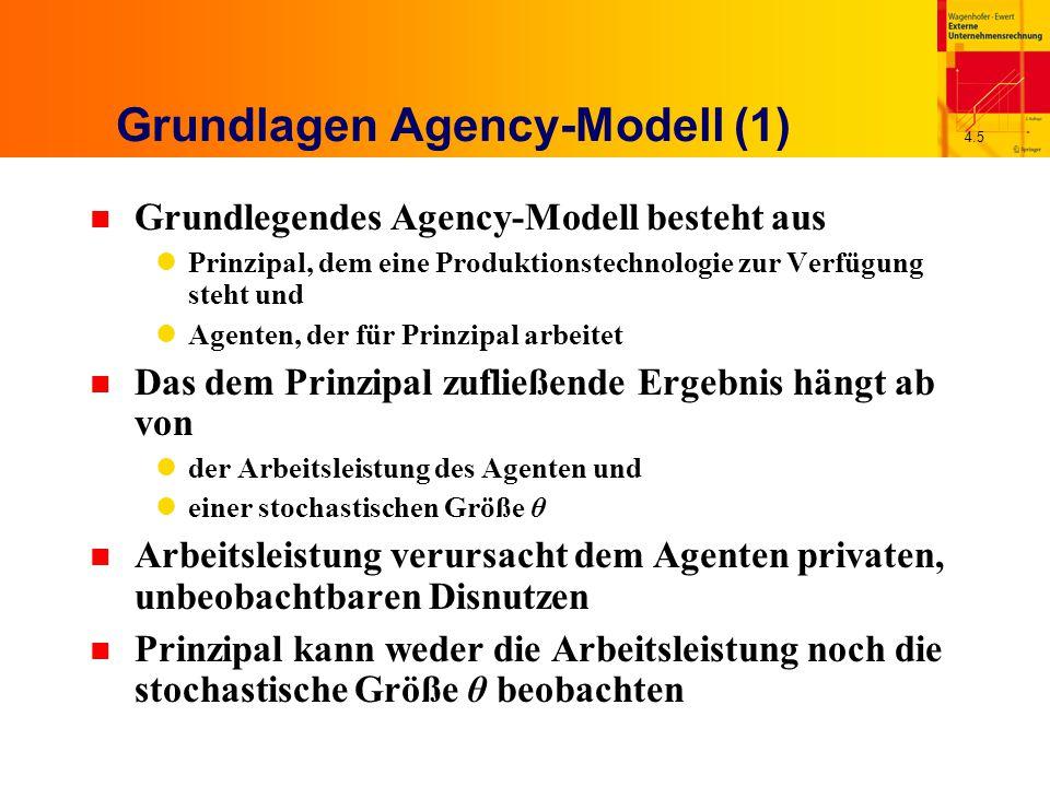 4.6 Grundlagen Agency-Modell (2) n Agent muss daher durch den Vertrag motiviert werden, die gewünschte Arbeitsleistung zu erbringen n Prinzipal schlägt dem Agenten einen Vertrag vor, der ein Entlohnungsschema S(  ) als Funktion des beobachtbaren Ergebnisses x bestimmt n Agent akzeptiert den Vertrag, wenn dieser zumindest den exogen vorgegebenen Reservationsnutzen U bietet n Prinzipal ist risikoneutral, Agent risikoscheu