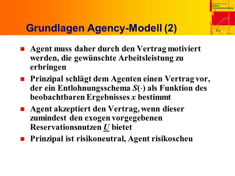 4.7 Grundlagen Agency-Modell (3) n Allgemeines Agency-Modell Zielfunktion Teilnahmebedingung Anreizkompatibilitätsbedingung n Aufgrund der Anreizkompatibilitätsbedingung wird die first-best-Lösung idR ausgeschlossen