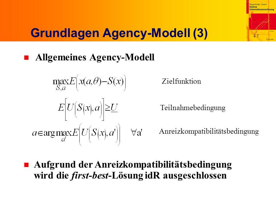 4.8 LEN-Modell (1) n Spezifische Variante eines Agency-Modells Ergebnis x ist linear in der Arbeitsleistung und der stochastischen Größe, x = a + θ Entlohnungsfunktion ist linear in x, S(x) = S 0 + s  x Risikoscheuer Agent, (negativ) exponentielle Nutzenfunktion mit Risikoaversionsparameter r Nutzenfunktion multiplikativ separierbar in S und a U(S, a) = -exp[-r  (S - K(a))] Stochastische Größe θ ist normalverteilt mit Erwartungswert 0 und Varianz  2 n Sicherheitsäquivalent des Nutzenerwartungswertes des Agenten
