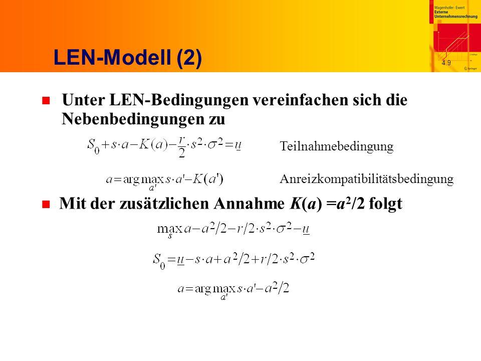 4.9 LEN-Modell (2) n Unter LEN-Bedingungen vereinfachen sich die Nebenbedingungen zu Teilnahmebedingung Anreizkompatibilitätsbedingung n Mit der zusätzlichen Annahme K(a) =a 2 /2 folgt