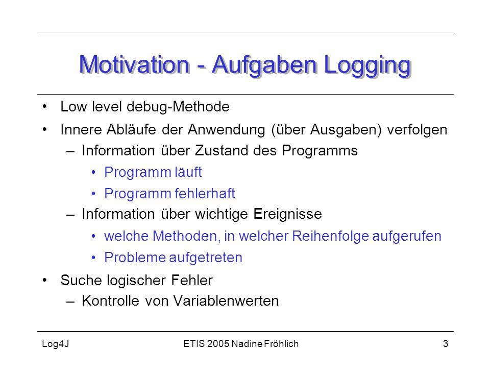 ETIS 2005 Nadine FröhlichLog4J3 Motivation - Aufgaben Logging Low level debug-Methode Innere Abläufe der Anwendung (über Ausgaben) verfolgen –Informat