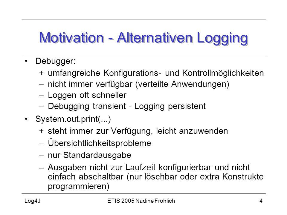 ETIS 2005 Nadine FröhlichLog4J4 Motivation - Alternativen Logging Debugger: +umfangreiche Konfigurations- und Kontrollmöglichkeiten –nicht immer verfü