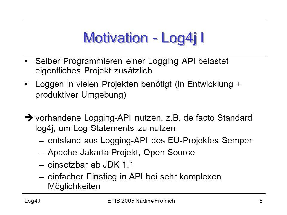 ETIS 2005 Nadine FröhlichLog4J5 Motivation - Log4j I Selber Programmieren einer Logging API belastet eigentliches Projekt zusätzlich Loggen in vielen