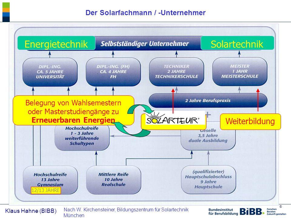 ® Klaus Hahne (BIBB) Der Solarfachmann / -Unternehmer EnergietechnikSolartechnik Weiterbildung Belegung von Wahlsemestern oder Masterstudiengänge zu E