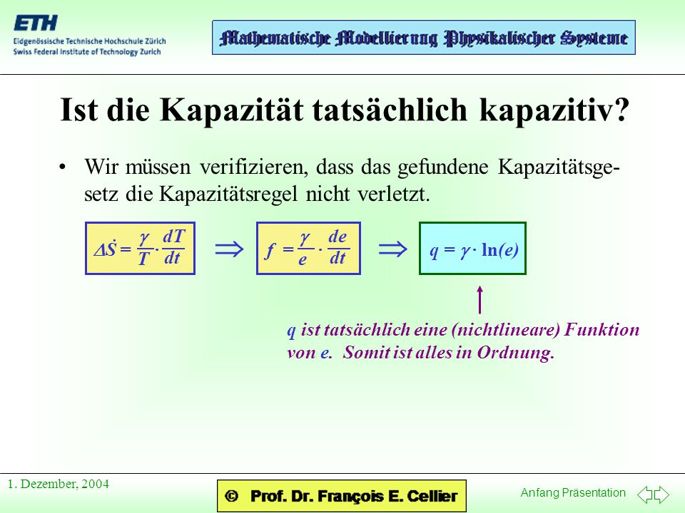Anfang Präsentation 1.Dezember, 2004 Ist die Kapazität tatsächlich kapazitiv.