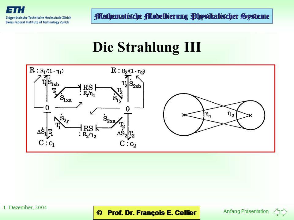 Anfang Präsentation 1. Dezember, 2004 Die Strahlung III