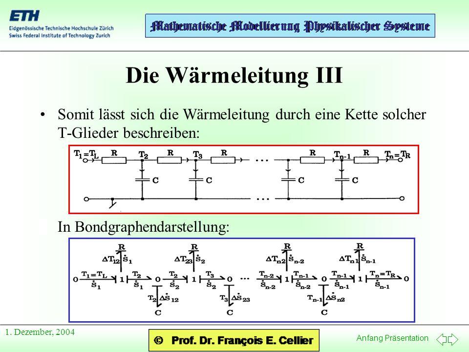 Anfang Präsentation 1.Dezember, 2004 Die Wärmeleitung IV Dieser Bondgraph ist wunderschön...