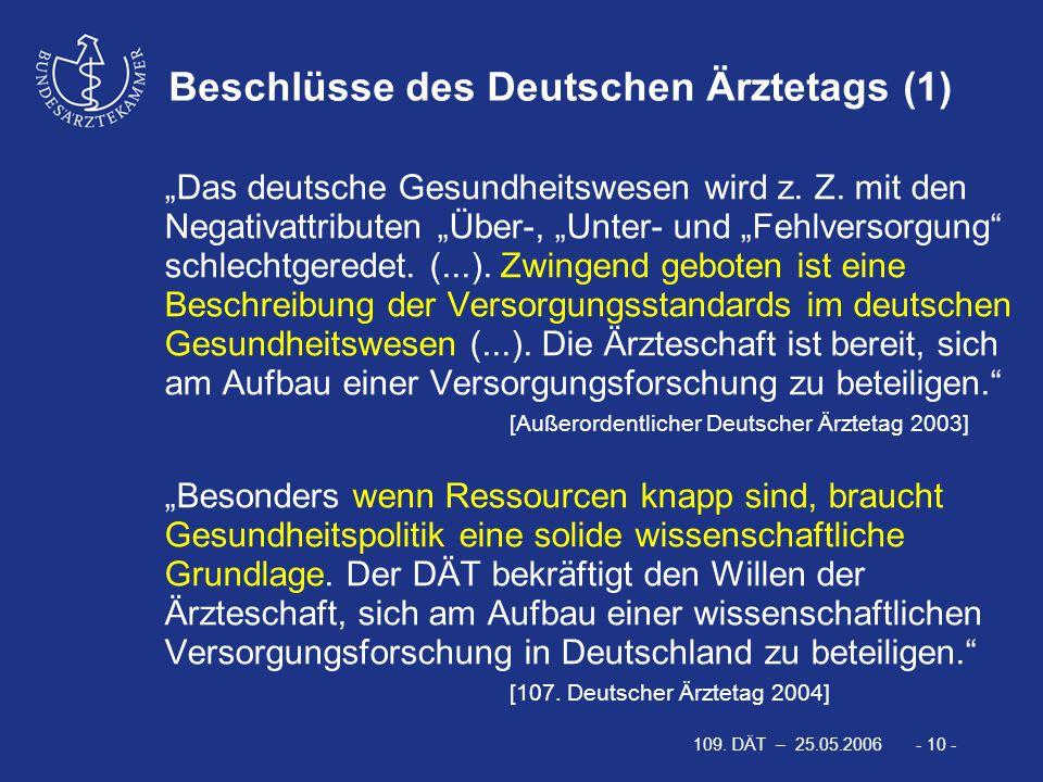 """109. DÄT – 25.05.2006 - 10 - Beschlüsse des Deutschen Ärztetags (1) """"Das deutsche Gesundheitswesen wird z. Z. mit den Negativattributen """"Über-, """"Unter"""