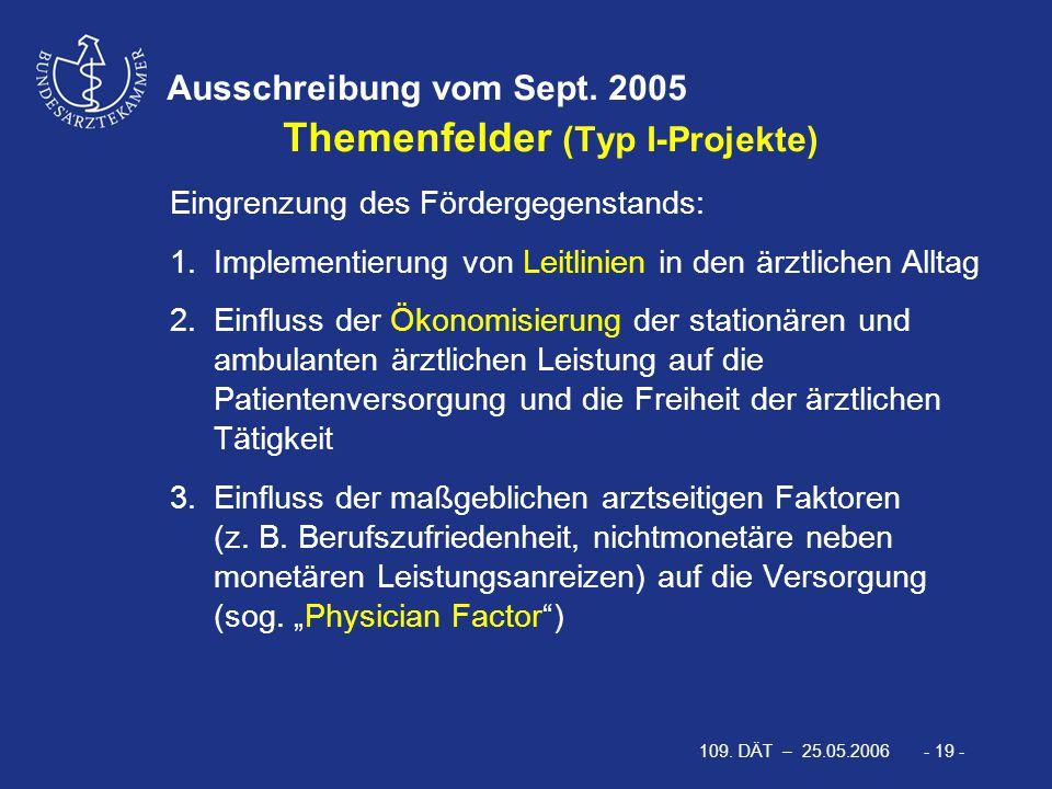 109. DÄT – 25.05.2006 - 19 - Ausschreibung vom Sept. 2005 Themenfelder (Typ I-Projekte) Eingrenzung des Fördergegenstands: 1.Implementierung von Leitl