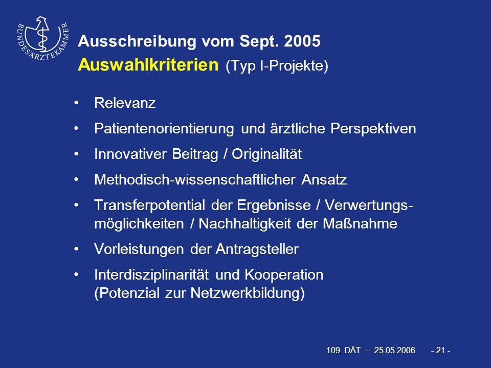 109. DÄT – 25.05.2006 - 21 - Ausschreibung vom Sept. 2005 Auswahlkriterien (Typ I-Projekte) Relevanz Patientenorientierung und ärztliche Perspektiven