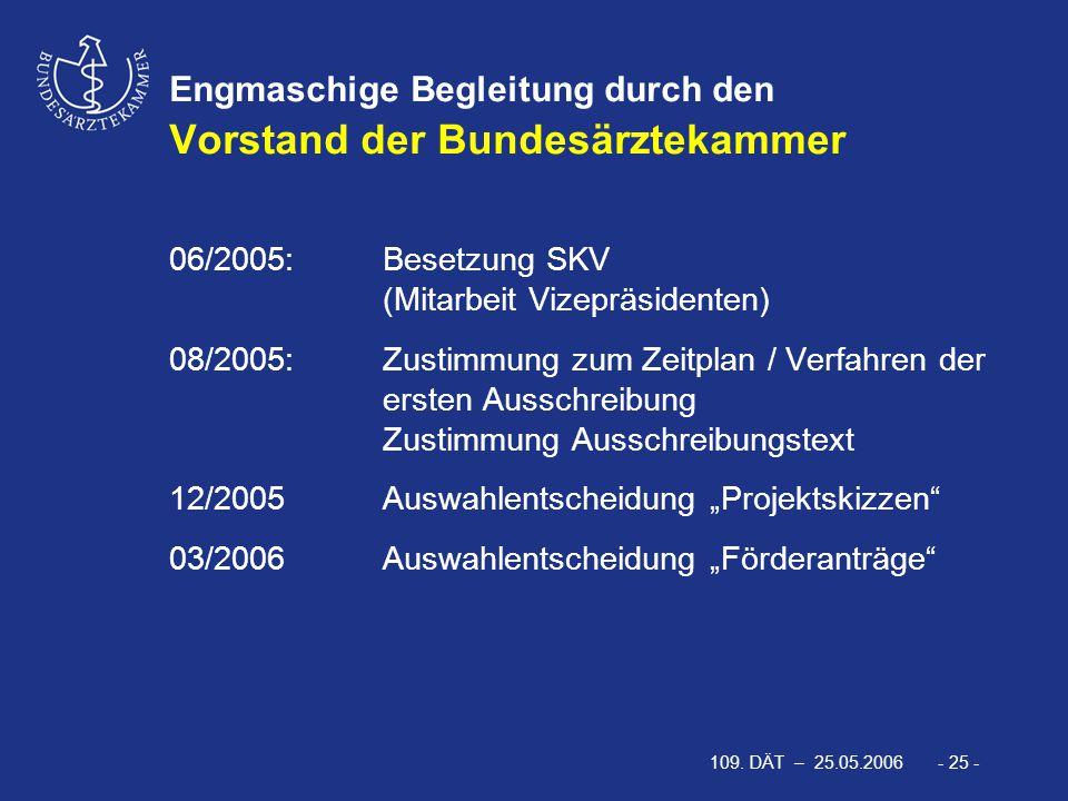 109. DÄT – 25.05.2006 - 25 - Engmaschige Begleitung durch den Vorstand der Bundesärztekammer 06/2005: Besetzung SKV (Mitarbeit Vizepräsidenten) 08/200