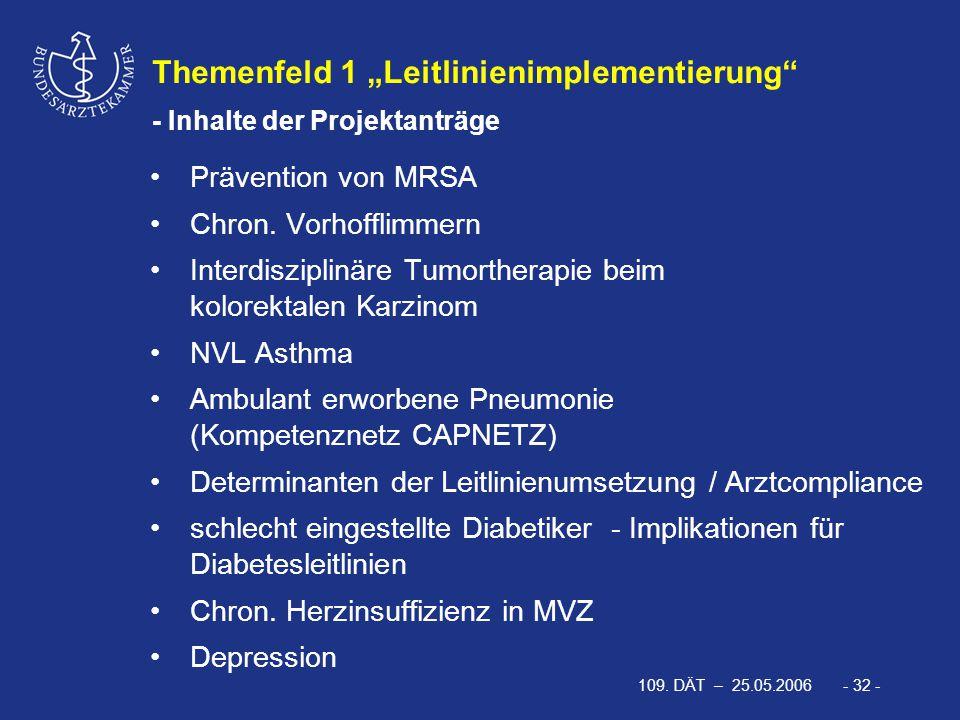 """109. DÄT – 25.05.2006 - 32 - Themenfeld 1 """"Leitlinienimplementierung"""" - Inhalte der Projektanträge Prävention von MRSA Chron. Vorhofflimmern Interdisz"""