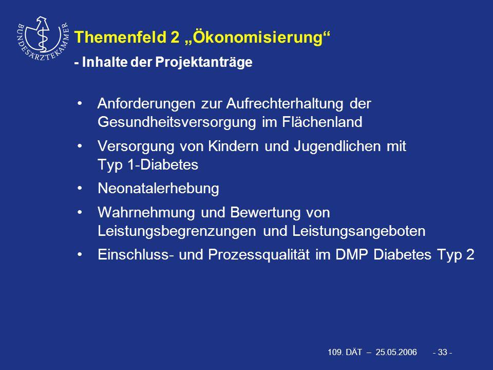 """109. DÄT – 25.05.2006 - 33 - Themenfeld 2 """"Ökonomisierung"""" - Inhalte der Projektanträge Anforderungen zur Aufrechterhaltung der Gesundheitsversorgung"""