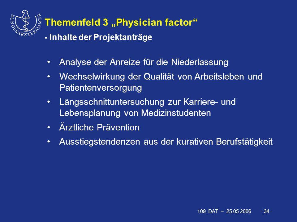 """109. DÄT – 25.05.2006 - 34 - Themenfeld 3 """"Physician factor"""" - Inhalte der Projektanträge Analyse der Anreize für die Niederlassung Wechselwirkung der"""
