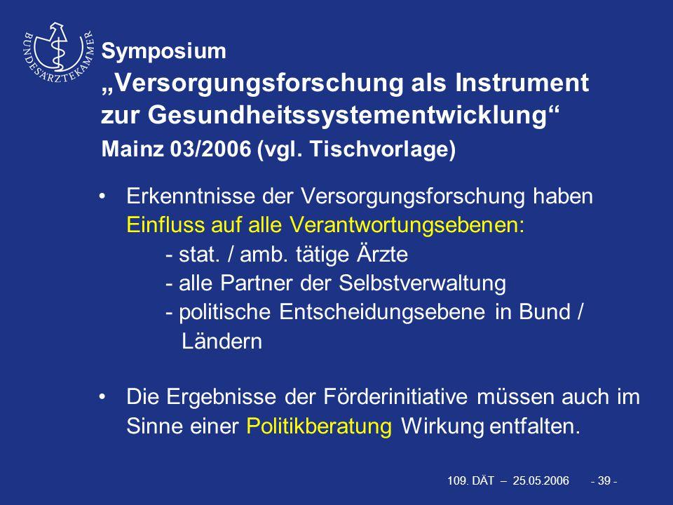"""109. DÄT – 25.05.2006 - 39 - Symposium """"Versorgungsforschung als Instrument zur Gesundheitssystementwicklung"""" Mainz 03/2006 (vgl. Tischvorlage) Erkenn"""