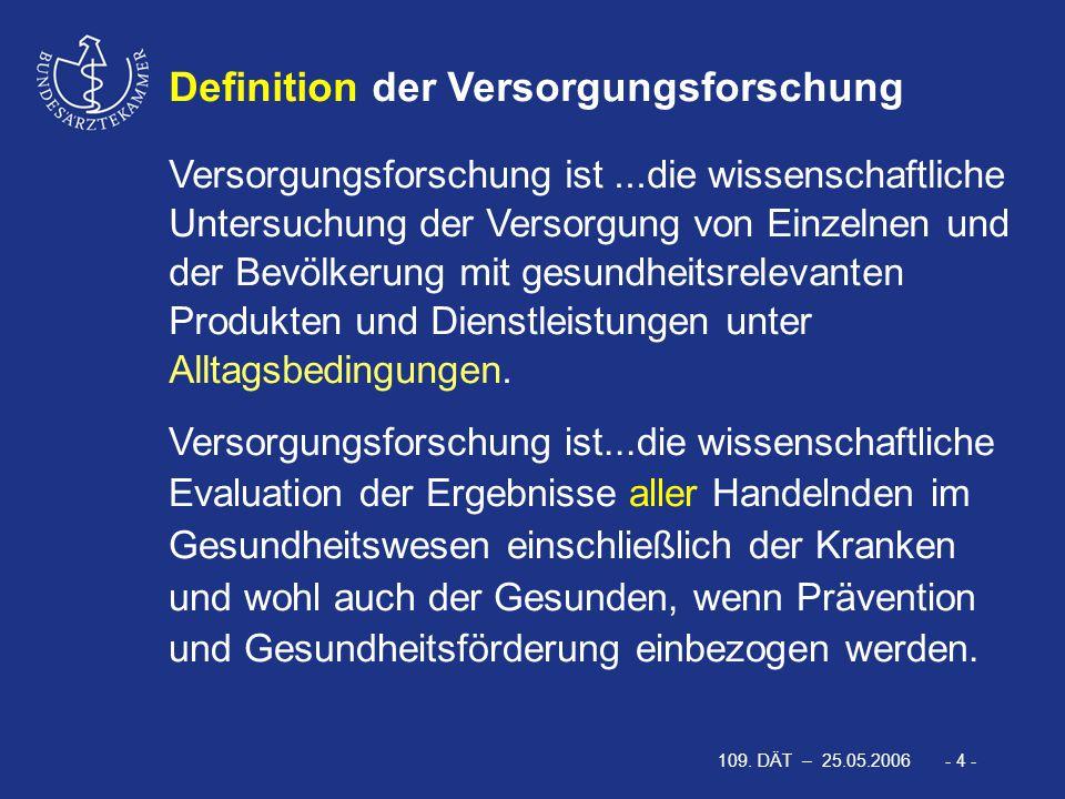 109. DÄT – 25.05.2006 - 35 - Fazit: Ziele der Förderung der Versorgungsforschung durch die BÄK