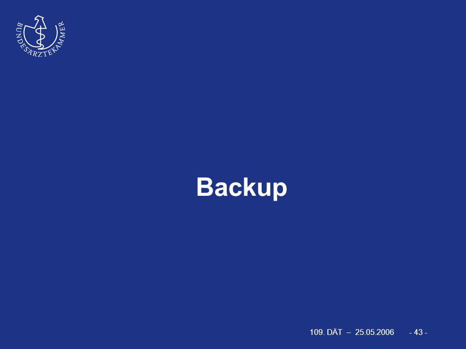 109. DÄT – 25.05.2006 - 43 - Backup