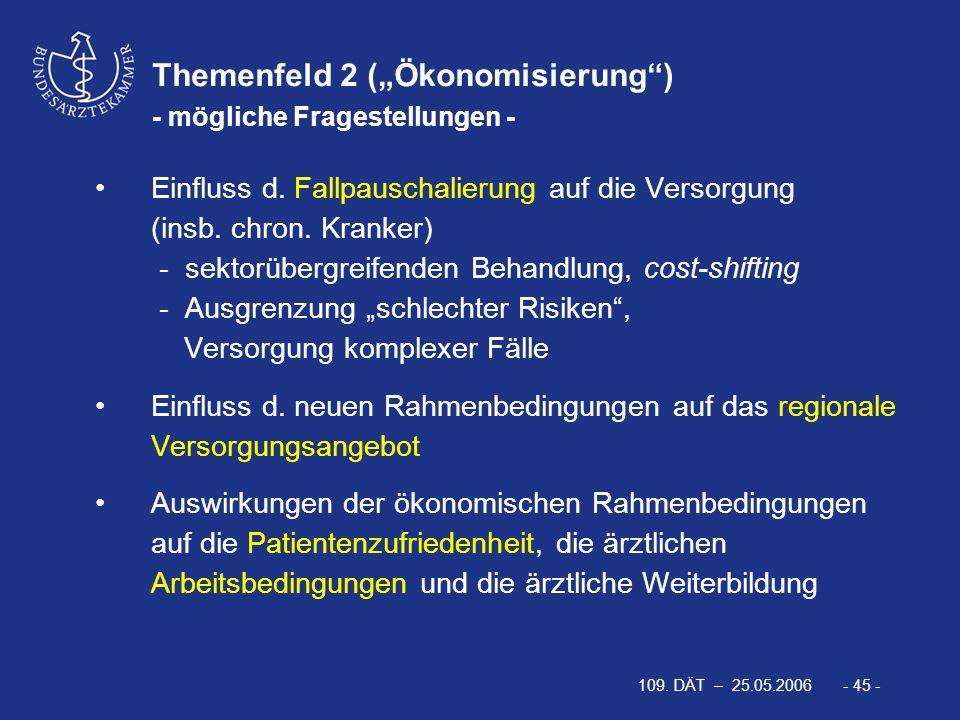 """109. DÄT – 25.05.2006 - 45 - Themenfeld 2 (""""Ökonomisierung"""") - mögliche Fragestellungen - Einfluss d. Fallpauschalierung auf die Versorgung (insb. chr"""
