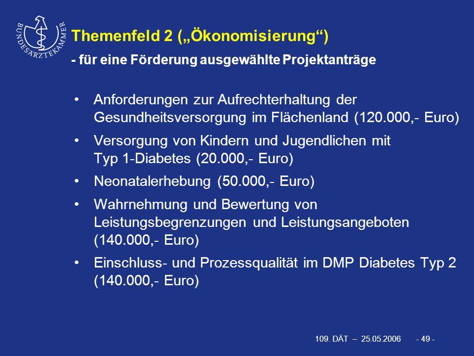 """109. DÄT – 25.05.2006 - 49 - Themenfeld 2 (""""Ökonomisierung"""") - für eine Förderung ausgewählte Projektanträge Anforderungen zur Aufrechterhaltung der G"""