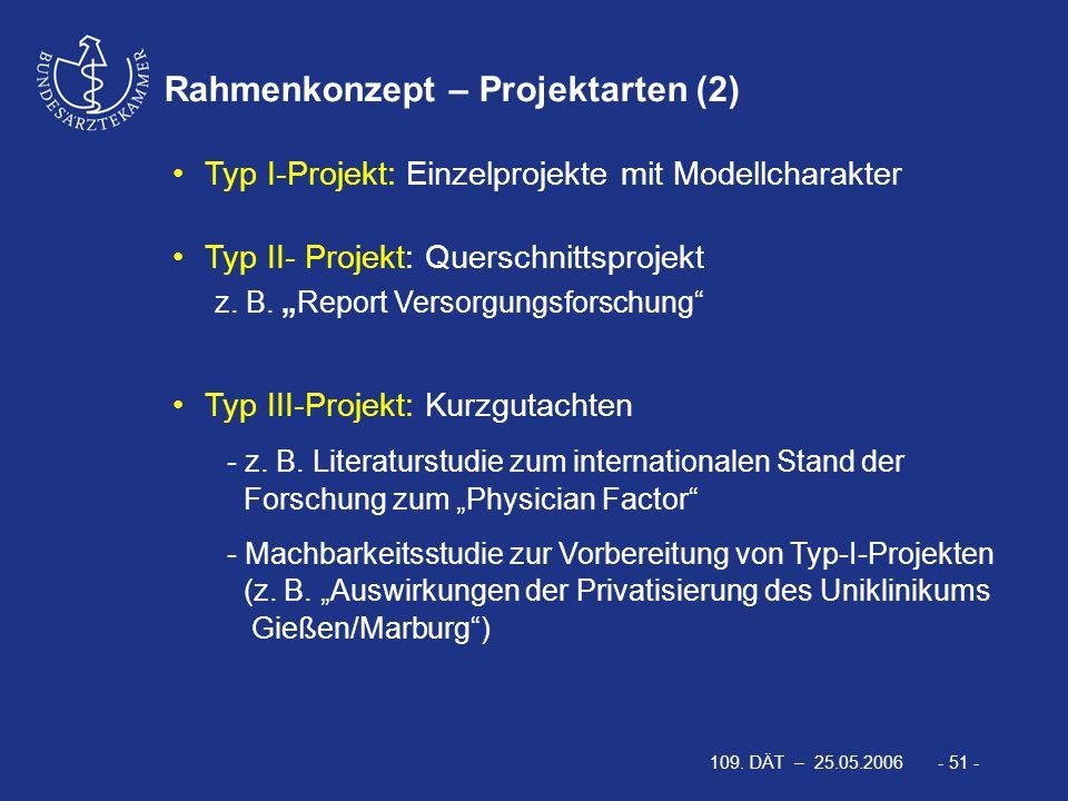 109. DÄT – 25.05.2006 - 51 - Rahmenkonzept – Projektarten (2) Typ I-Projekt: Einzelprojekte mit Modellcharakter Typ II- Projekt: Querschnittsprojekt z