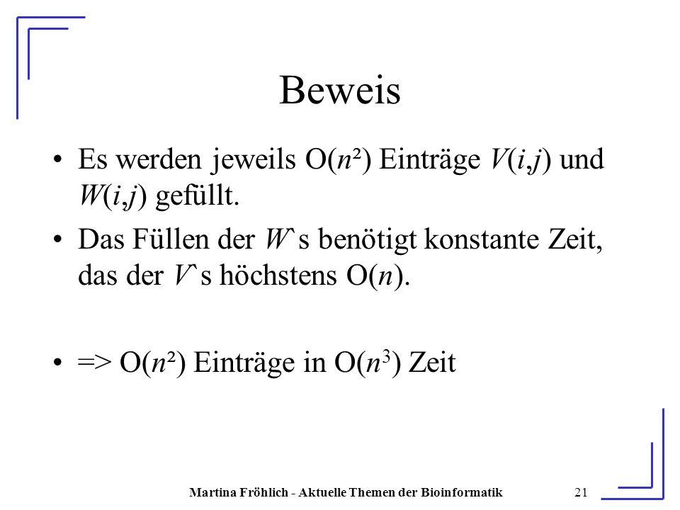 Martina Fröhlich - Aktuelle Themen der Bioinformatik21 Beweis Es werden jeweils O(n²) Einträge V(i,j) und W(i,j) gefüllt.