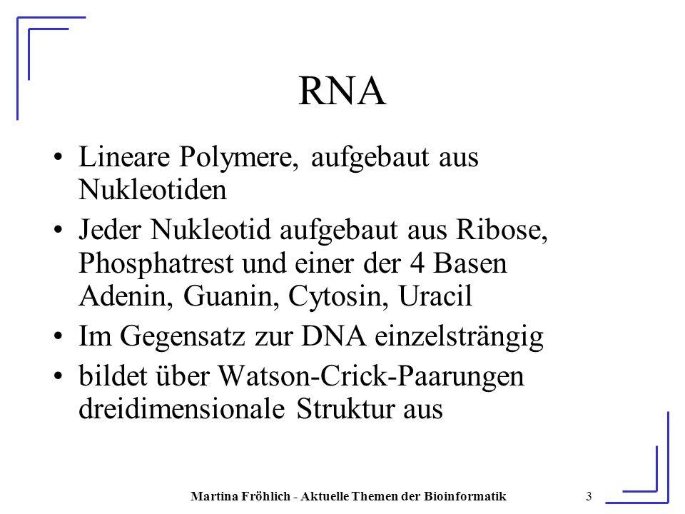 Martina Fröhlich - Aktuelle Themen der Bioinformatik14 Lemma Die Einbettung E von Stacking Pairs einer planaren Sekundärstruktur P ist planar P planar => E planar wird bewiesen durch ⌐ E planar => ⌐ P planar