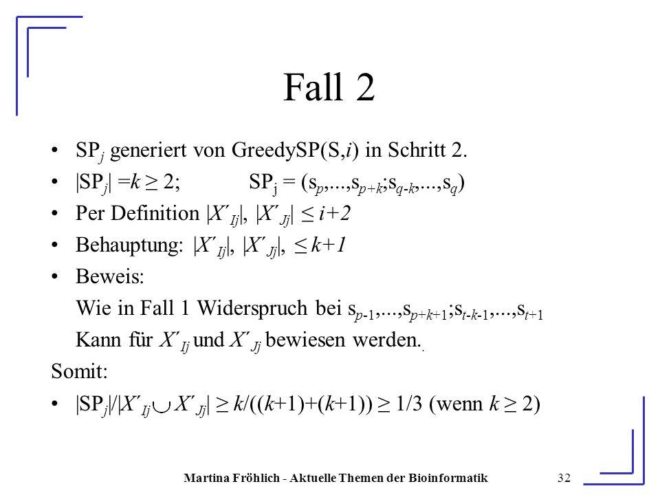 Martina Fröhlich - Aktuelle Themen der Bioinformatik32 Fall 2 SP j generiert von GreedySP(S,i) in Schritt 2.