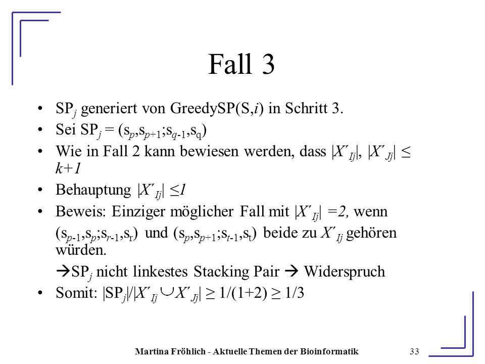 Martina Fröhlich - Aktuelle Themen der Bioinformatik33 Fall 3 SP j generiert von GreedySP(S,i) in Schritt 3.