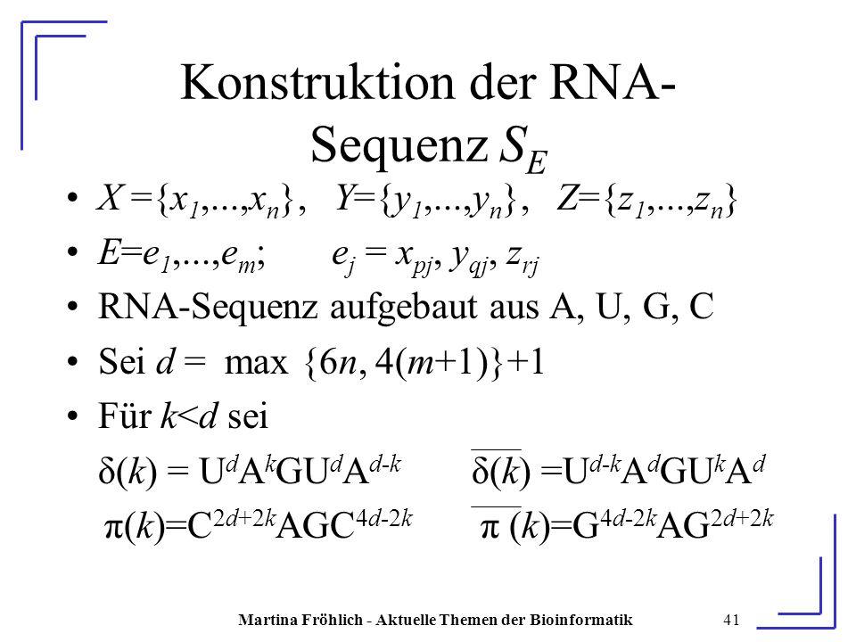 Martina Fröhlich - Aktuelle Themen der Bioinformatik41 Konstruktion der RNA- Sequenz S E X ={x 1,...,x n }, Y={y 1,...,y n }, Z={z 1,...,z n } E=e 1,...,e m ; e j = x pj, y qj, z rj RNA-Sequenz aufgebaut aus A, U, G, C Sei d = max {6n, 4(m+1)}+1 Für k<d sei δ(k) = U d A k GU d A d-k δ(k) =U d-k A d GU k A d π(k)=C 2d+2k AGC 4d-2k π (k)=G 4d-2k AG 2d+2k