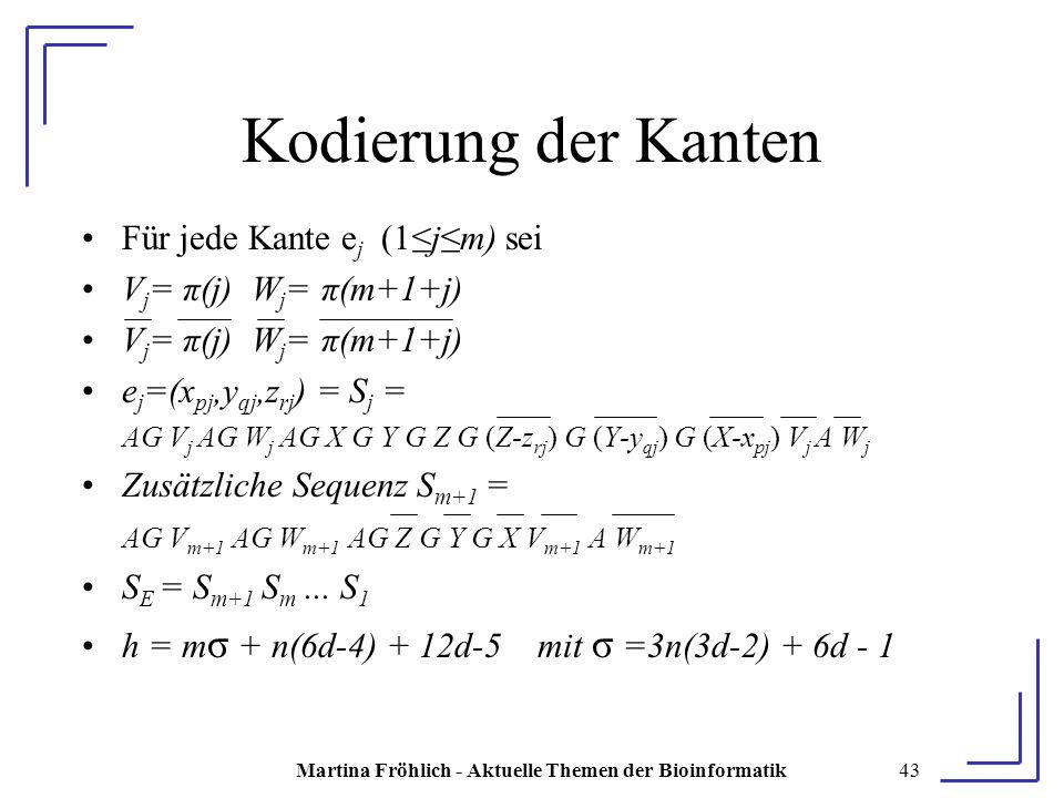 Martina Fröhlich - Aktuelle Themen der Bioinformatik43 Kodierung der Kanten Für jede Kante e j (1≤j≤m) sei V j = π(j) W j = π(m+1+j) e j =(x pj,y qj,z rj ) = S j = AG V j AG W j AG X G Y G Z G (Z-z rj ) G (Y-y qj ) G (X-x pj ) V j A W j Zusätzliche Sequenz S m+1 = AG V m+1 AG W m+1 AG Z G Y G X V m+1 A W m+1 S E = S m+1 S m...