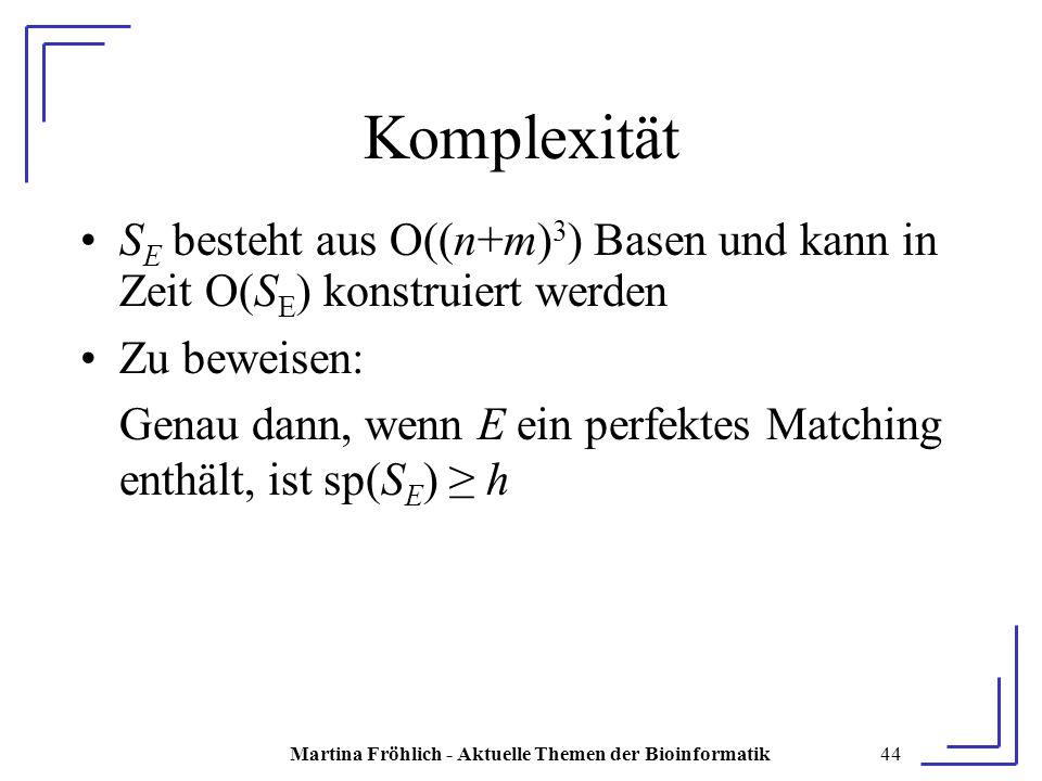 Martina Fröhlich - Aktuelle Themen der Bioinformatik44 Komplexität S E besteht aus O((n+m) 3 ) Basen und kann in Zeit O(S E ) konstruiert werden Zu beweisen: Genau dann, wenn E ein perfektes Matching enthält, ist sp(S E ) ≥ h