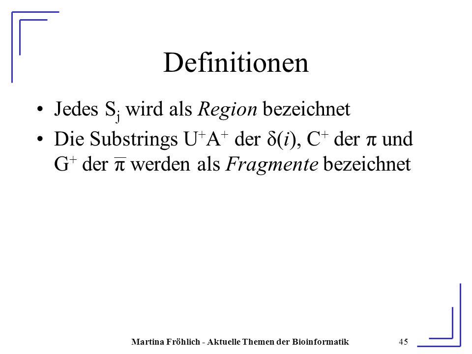 Martina Fröhlich - Aktuelle Themen der Bioinformatik45 Definitionen Jedes S j wird als Region bezeichnet Die Substrings U + A + der δ(i), C + der π und G + der π werden als Fragmente bezeichnet