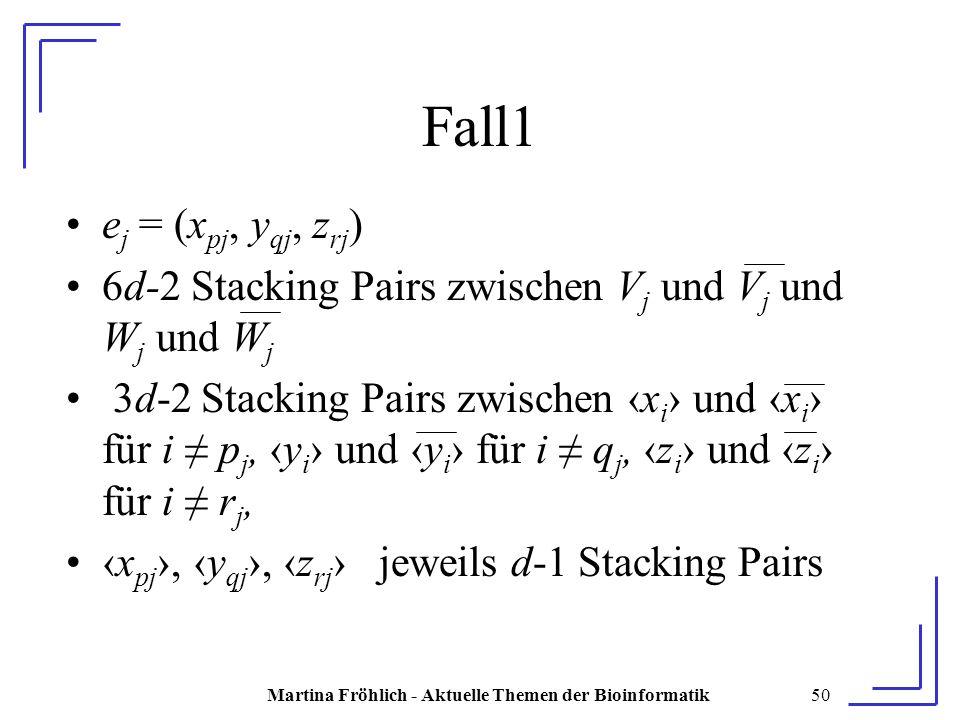 Martina Fröhlich - Aktuelle Themen der Bioinformatik50 Fall1 e j = (x pj, y qj, z rj ) 6d-2 Stacking Pairs zwischen V j und V j und W j und W j 3d-2 Stacking Pairs zwischen ‹x i › und ‹x i › für i ≠ p j, ‹y i › und ‹y i › für i ≠ q j, ‹z i › und ‹z i › für i ≠ r j, ‹x pj ›, ‹y qj ›, ‹z rj › jeweils d-1 Stacking Pairs