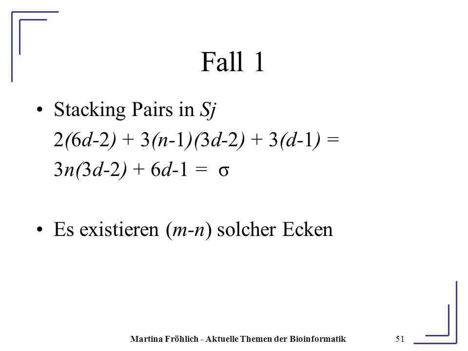 Martina Fröhlich - Aktuelle Themen der Bioinformatik51 Fall 1 Stacking Pairs in Sj 2(6d-2) + 3(n-1)(3d-2) + 3(d-1) = 3n(3d-2) + 6d-1 = σ Es existieren (m-n) solcher Ecken