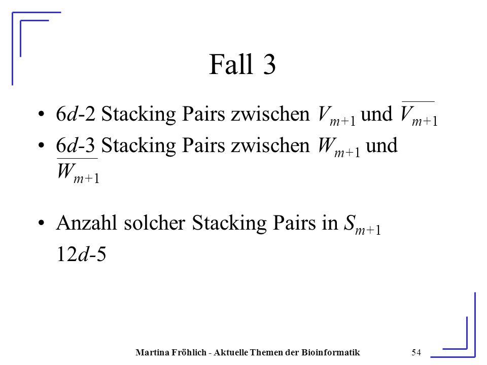Martina Fröhlich - Aktuelle Themen der Bioinformatik54 Fall 3 6d-2 Stacking Pairs zwischen V m+1 und V m+1 6d-3 Stacking Pairs zwischen W m+1 und W m+1 Anzahl solcher Stacking Pairs in S m+1 12d-5