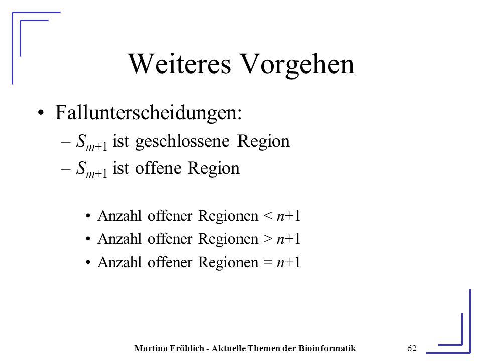 Martina Fröhlich - Aktuelle Themen der Bioinformatik62 Weiteres Vorgehen Fallunterscheidungen: –S m+1 ist geschlossene Region –S m+1 ist offene Region Anzahl offener Regionen < n+1 Anzahl offener Regionen > n+1 Anzahl offener Regionen = n+1