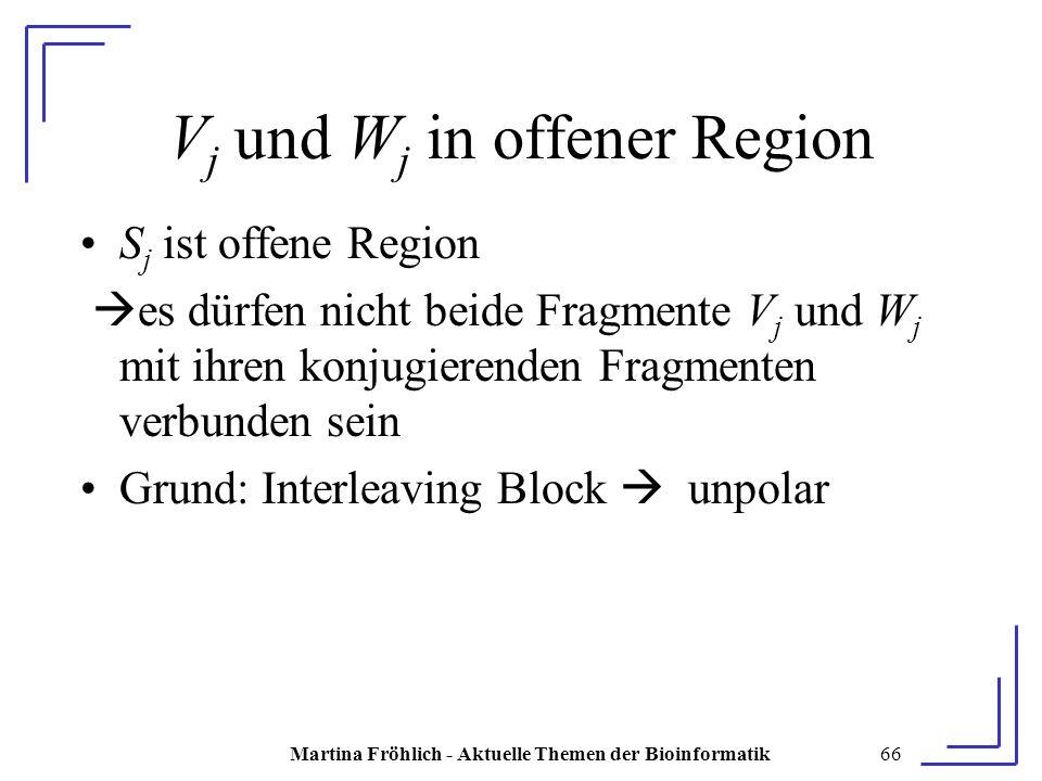 Martina Fröhlich - Aktuelle Themen der Bioinformatik66 V j und W j in offener Region S j ist offene Region  es dürfen nicht beide Fragmente V j und W j mit ihren konjugierenden Fragmenten verbunden sein Grund: Interleaving Block  unpolar