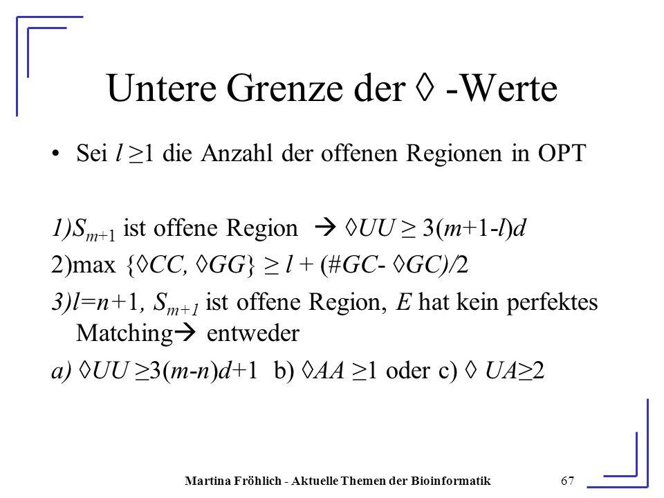 Martina Fröhlich - Aktuelle Themen der Bioinformatik67 Untere Grenze der ◊ -Werte Sei l ≥1 die Anzahl der offenen Regionen in OPT 1)S m+1 ist offene Region  ◊UU ≥ 3(m+1-l)d 2)max {◊CC, ◊GG} ≥ l + (#GC- ◊GC)/2 3)l=n+1, S m+1 ist offene Region, E hat kein perfektes Matching  entweder a) ◊UU ≥3(m-n)d+1 b) ◊AA ≥1 oder c) ◊ UA≥2