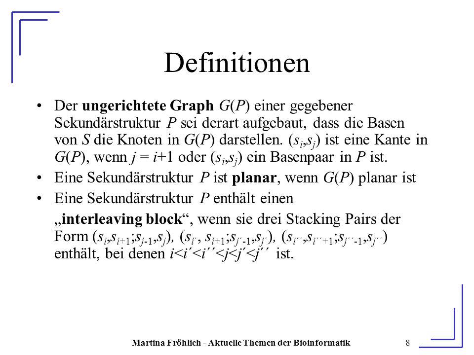 Martina Fröhlich - Aktuelle Themen der Bioinformatik19 Beweis P* sei die planare Sekundärstruktur von S mit N* Stacking Pairs P* ist planar => jede Stacking Pair-Einbettung von P* ist planar Sei E eine Stacking Pair-Einbettung von P*, in der sich keine Linien überkreuzen Seien n 1 und n 2 die Anzahl der Stacking Pairs ober- bzw.