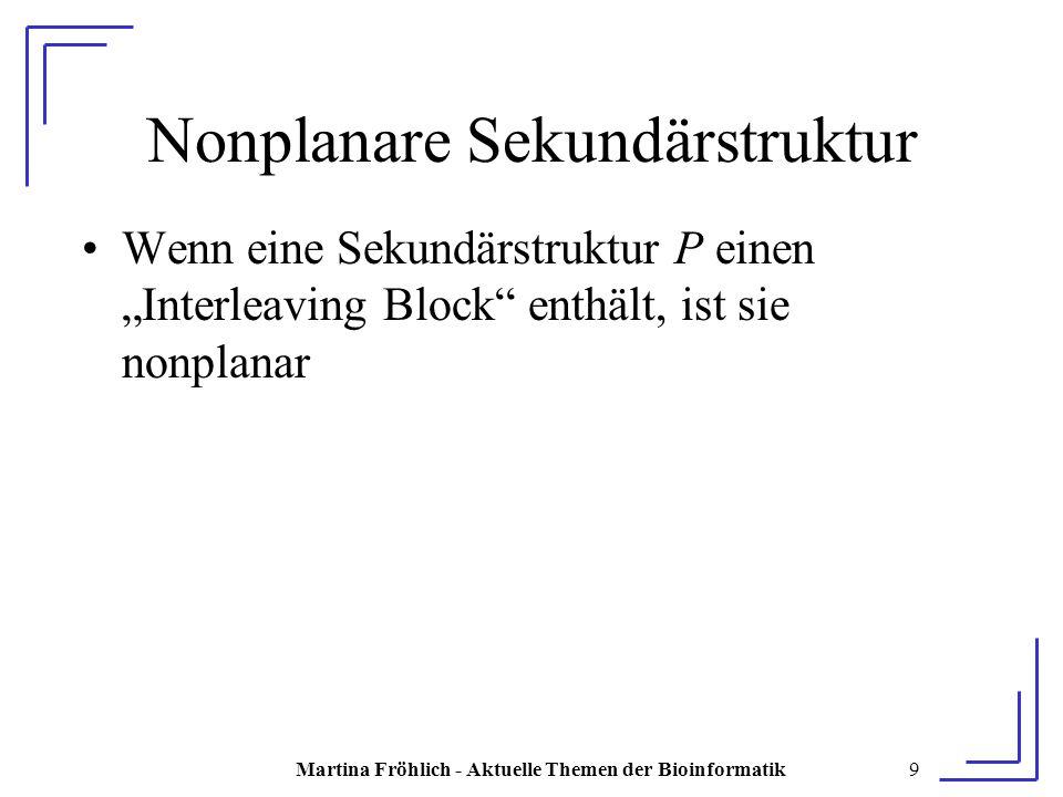 """Martina Fröhlich - Aktuelle Themen der Bioinformatik9 Nonplanare Sekundärstruktur Wenn eine Sekundärstruktur P einen """"Interleaving Block enthält, ist sie nonplanar"""