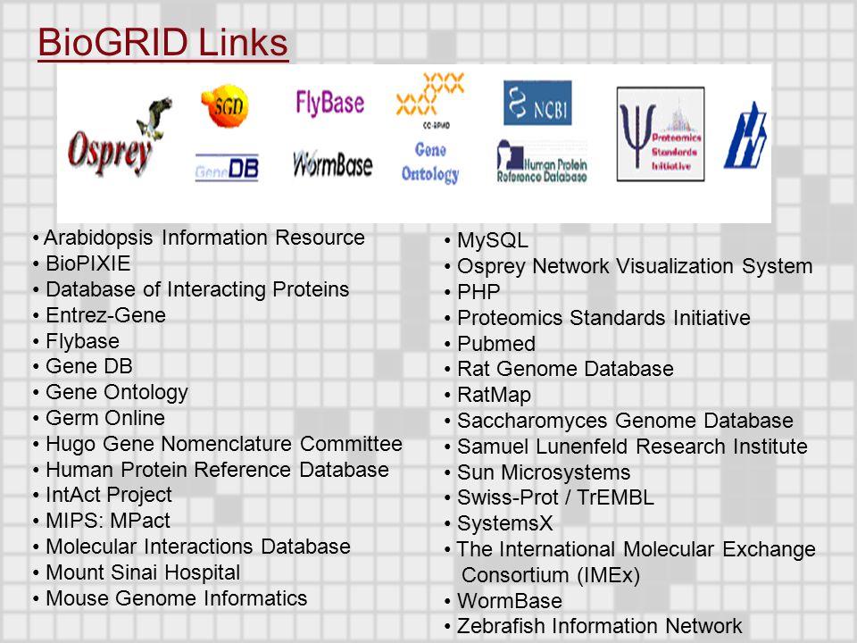 MySQL Osprey Network Visualization System PHP Proteomics Standards Initiative Pubmed Rat Genome Database RatMap Saccharomyces Genome Database Samuel L
