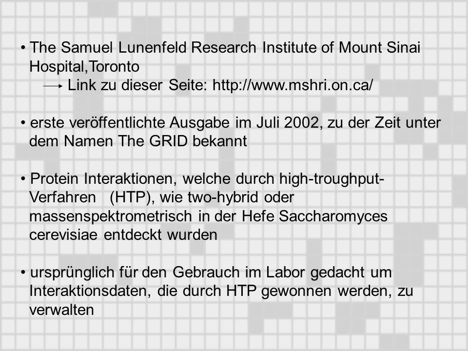 The Samuel Lunenfeld Research Institute of Mount Sinai Hospital,Toronto Link zu dieser Seite: http://www.mshri.on.ca/ erste veröffentlichte Ausgabe im Juli 2002, zu der Zeit unter dem Namen The GRID bekannt Protein Interaktionen, welche durch high-troughput- Verfahren (HTP), wie two-hybrid oder massenspektrometrisch in der Hefe Saccharomyces cerevisiae entdeckt wurden ursprünglich für den Gebrauch im Labor gedacht um Interaktionsdaten, die durch HTP gewonnen werden, zu verwalten