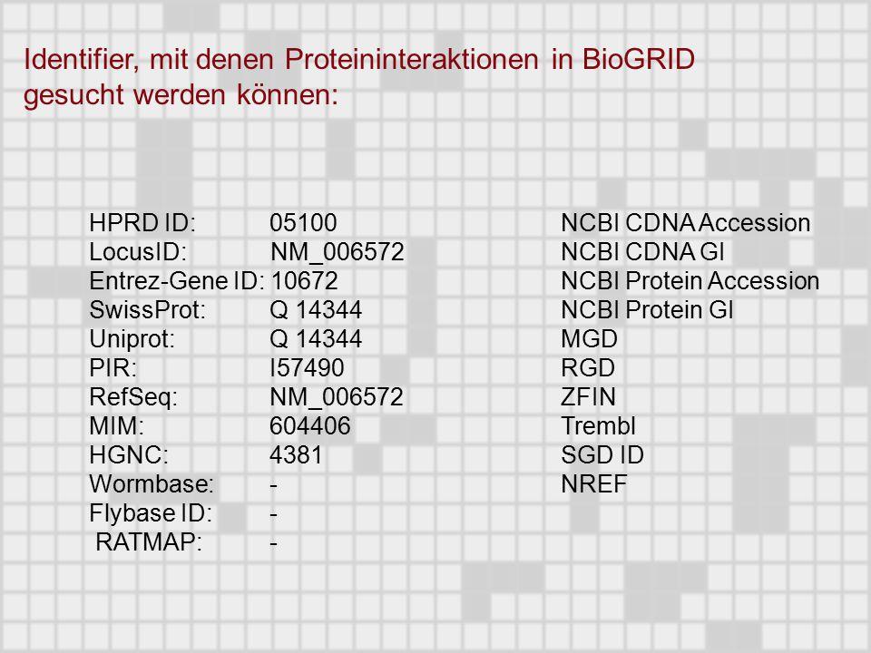 HPRD ID: 05100 LocusID: NM_006572 Entrez-Gene ID: 10672 SwissProt: Q 14344 Uniprot: Q 14344 PIR: I57490 RefSeq: NM_006572 MIM: 604406 HGNC: 4381 Wormbase: - Flybase ID: - RATMAP: - NCBI CDNA Accession NCBI CDNA GI NCBI Protein Accession NCBI Protein GI MGD RGD ZFIN Trembl SGD ID NREF Identifier, mit denen Proteininteraktionen in BioGRID gesucht werden können: