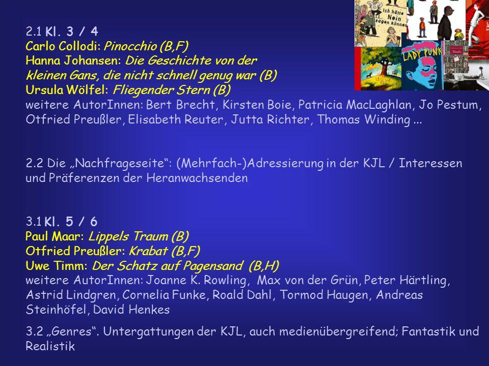 2.1 Kl. 3 / 4 Carlo Collodi: Pinocchio (B,F) Hanna Johansen: Die Geschichte von der kleinen Gans, die nicht schnell genug war (B) Ursula Wölfel: Flieg