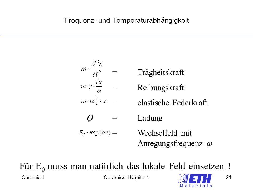 Ceramic IICeramics II Kapitel 121 Frequenz- und Temperaturabhängigkeit =Trägheitskraft =Reibungskraft =elastische Federkraft Q=Ladung =Wechselfeld mit Anregungsfrequenz  Für E 0 muss man natürlich das lokale Feld einsetzen !